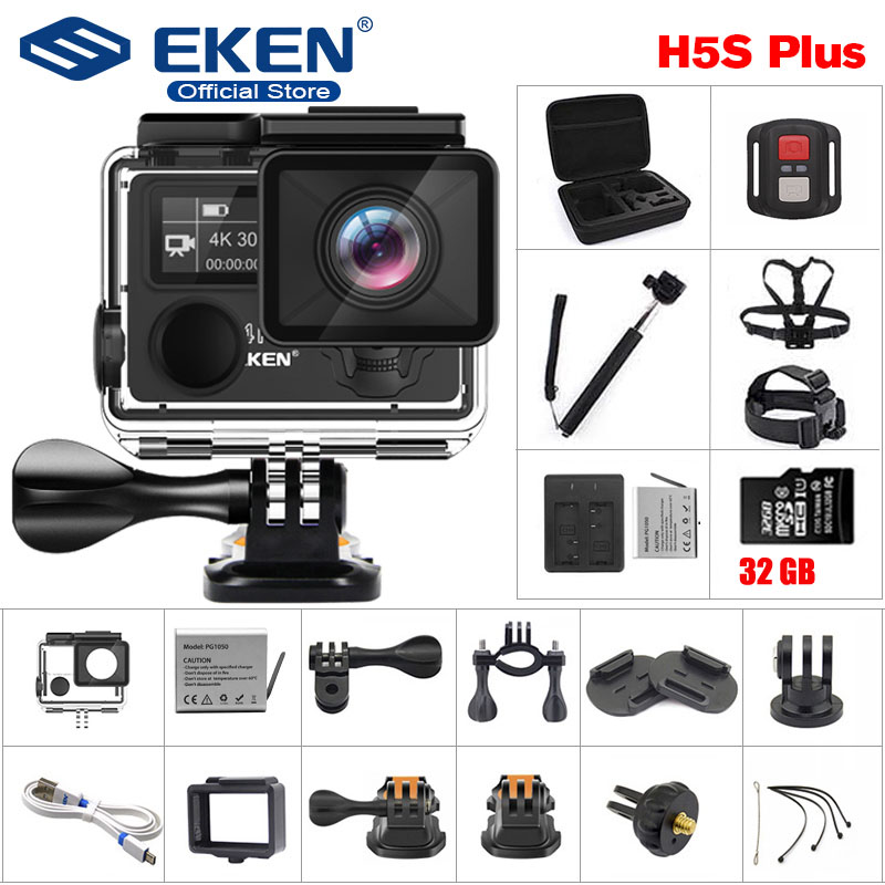 EKEN H5S Plus Ultra HD Action Camera Ambarella A12 EIS 4k/30fps 30M waterproof go Helmet pro Touch Screen sport camera image