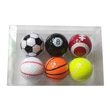 6Pcs Golf Balls Strong Resilience Force Sports Practice Toys Basketball Football