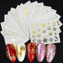 16 قطعة/مجموعة الشتاء عيد الميلاد ملصقات للأظافر الذهب الفضة عيد الميلاد ندفة الثلج نقل المياه مائي المنزلق مانيكير الديكور BESTZ YA