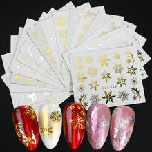 16pc/set Winter Xmas Stickers For Nails Gold Silver Christmas Snowflake Water Transfer Decal Slider Manicure Decoration BESTZ YA