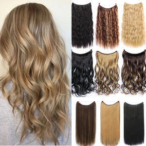 LANLAN Long Wavy Wigs For Women Hairstyle In Hair Extension Heat Resistant Synthetic False Hair Pieces Headwear
