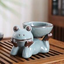 Offre Spéciale en céramique zodiaque grenouille Ge four petit moine thé animal de compagnie avec thé fuite artisanat ensemble de thé ornement violet argile décoration artisanat