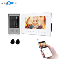 Jeatone 7 Inch Wirless Wifi Smart Video Intercom System with 720P Doorbell for Home Security Support Record Password RFID Card