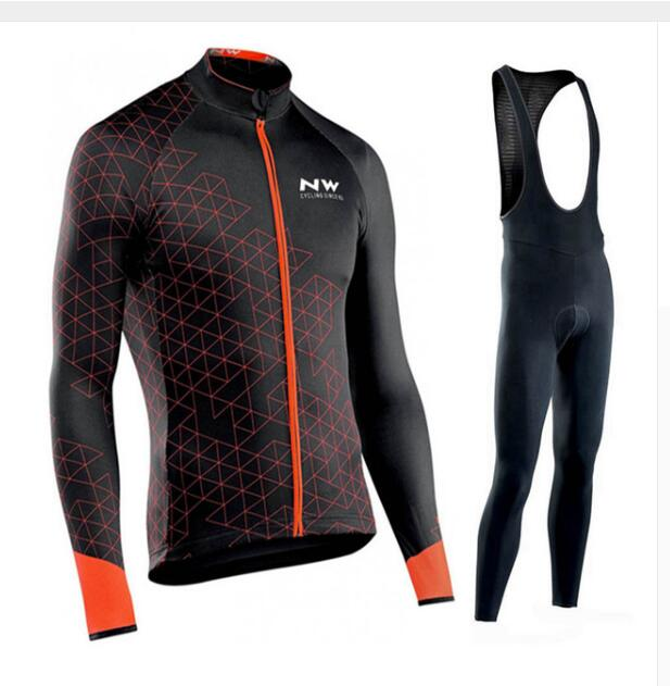 <font><b>2019</b></font> Por Team <font><b>NW</b></font> <font><b>Northwave</b></font> Cycling JerseY Set Maillot Ropa Ciclismo GEL Bib Pants Long Sleeve Autumn/Winter MTB Bike Clothing image
