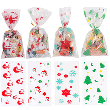 50pcs/100pcs Cookie Bags Christmas Candy Bags Transparent Cellophane Plastic Bag for Candy Christmas Party Favor Gifts