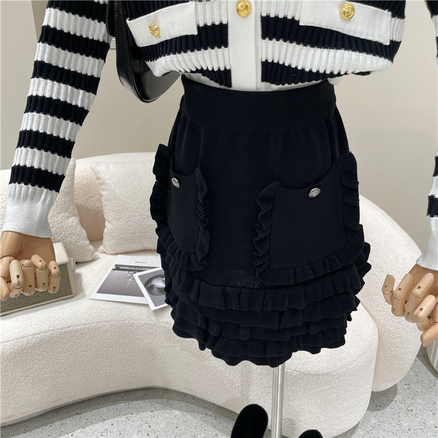 Causal Knitted Sweater 2 Piece Set Women Outfits Striped Long Sleeve Elegant Cardigan Top + Pleated Mini Skirts Two Piece Suits 6