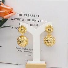 Серьги 2020 медные геометрические серьги в форме цветка золотые