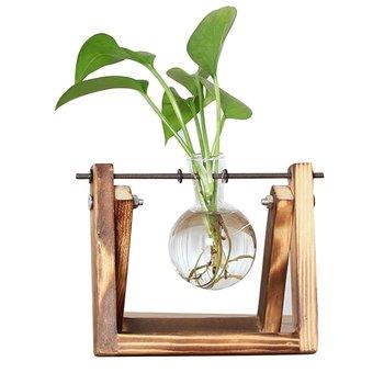 Pulpit szklany sadzarka wazon z Retro solidny drewniany stojak i metalowy krętlik uchwyt na rośliny hydroponiczne dekoracje do domowego biura tanie i dobre opinie CN (pochodzenie) Nowoczesne Drewno drewniane Blat wazon Bulb Vase with Retro Solid Wooden Stand