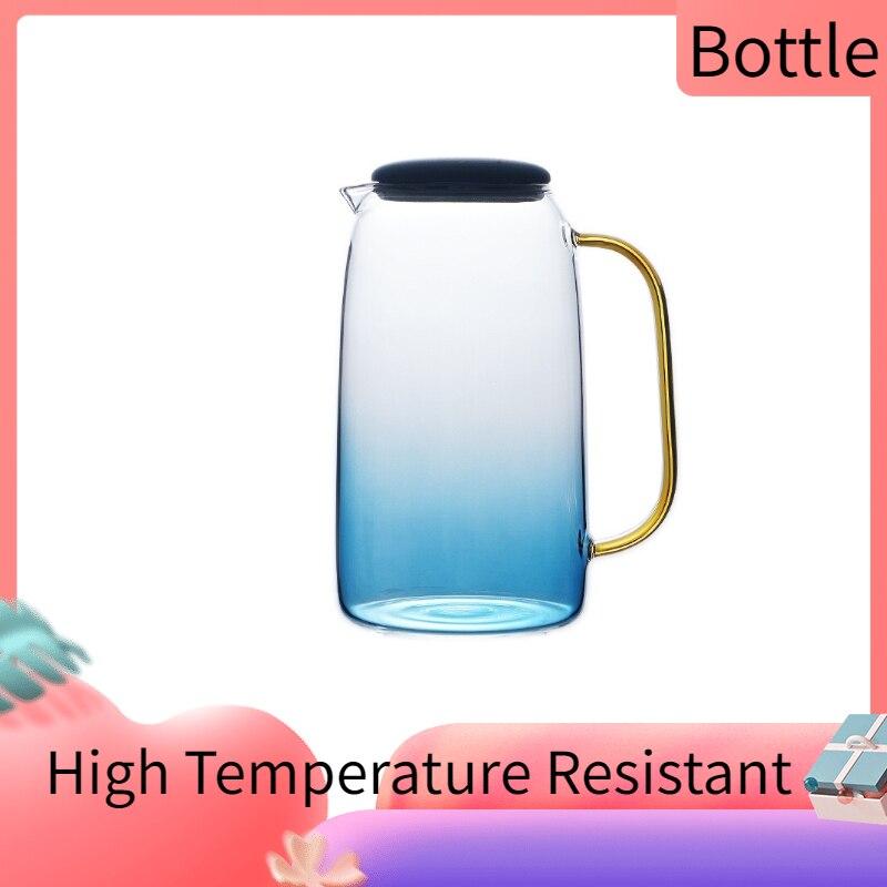Gradient Color Marble Cold Water Transparent Glass Bottle High Temperature Resistant Jar Jug Kettle Teapot Pitchers 1.4L