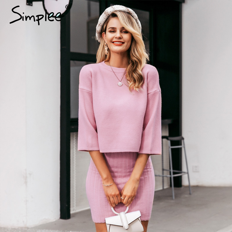 Simplee Elegant 2 Pieces Women Knitted Dress Slim Sleeveless Sweater Dress Autumn Winter Ladies Pullover Sweater Dress Set 2019