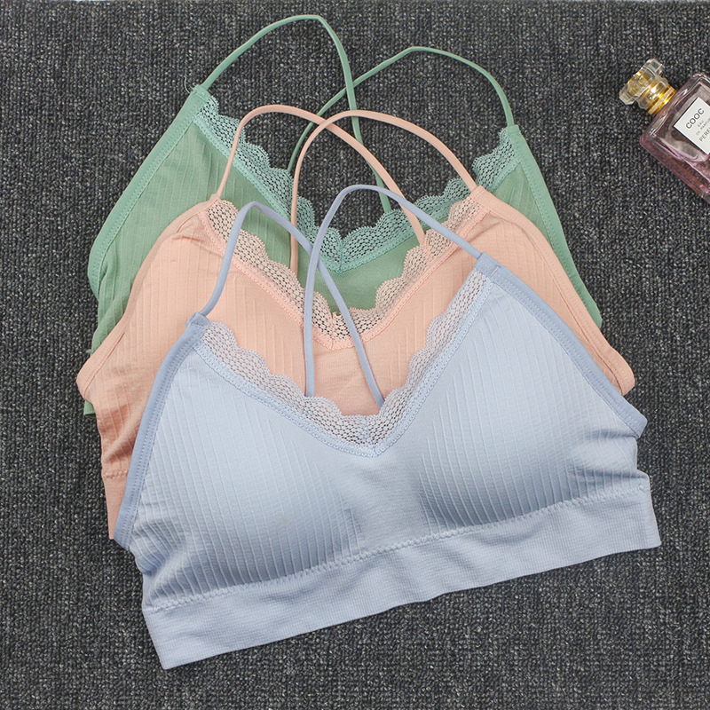 New Seamless Threaded Beauty Back Tube Top Underwear Lace Harness  Outdoor Sports Bra Female