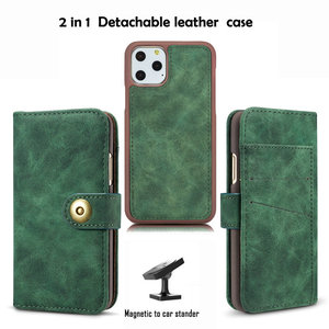 Image 2 - 2 in 1 Midnight Green Wallet For Coque iPhone 12 Mini 11 Pro Max Luxury Case iPhone12 2020 SE X S Xr Xs 6 6S 7 8 Plus Flip Cover