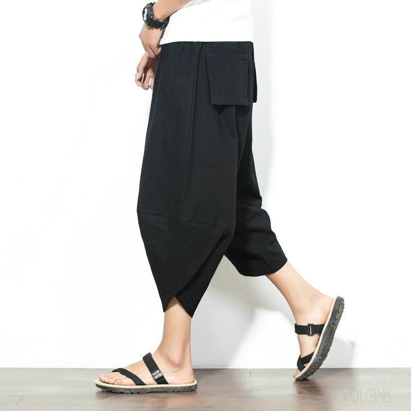 Мужские штаны для бега для мужчин эластичная укороченная хлопковые брюки мужские шорты для занятия спортом, бега, летняя модная повседневн...