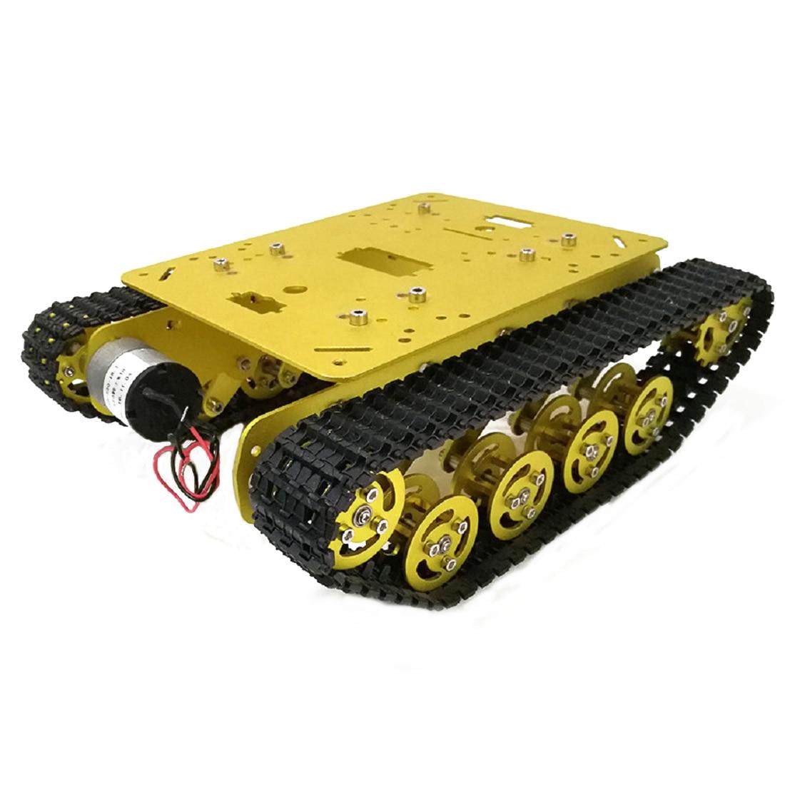 Rowsfire 1Set 12V Arduino DIY Tracked Robot Smart Car Metal Tank Chassis Kit - Golden/Black