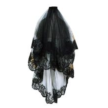 One-Layer Women Girl Black Mantilla Wedding Veil Embroidery Floral Lace Trim Halloween Cosplay Costume Sheer Hair Accessories