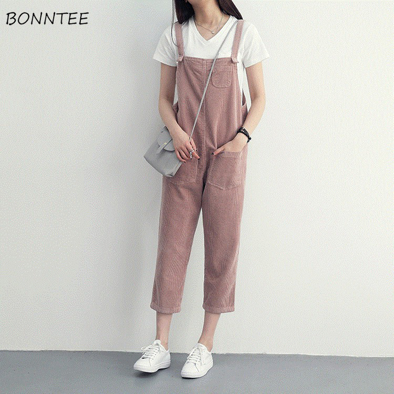 Jumpsuits Women Corduroy Solid Simple Trendy All-match Students Strap Womens Pockets Loose Casual Trousers Korean Style Lovely