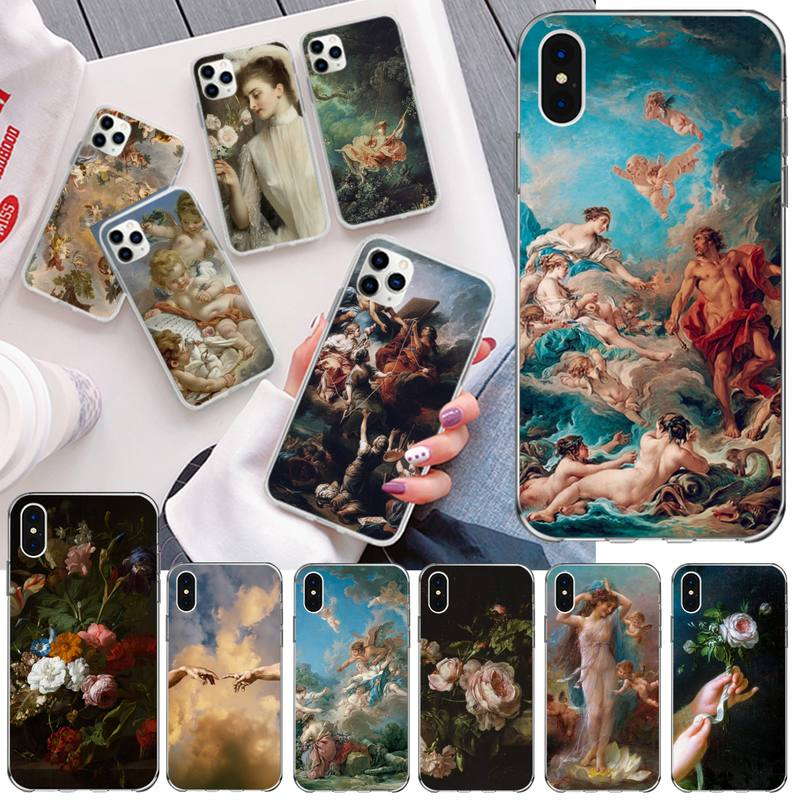 NBDRUICAI Classic painting flower aesthetic Silicone Phone Case for iPhone 11 pro XS MAX 8 7 6 6S Plus X 5S SE 2020 XR cover