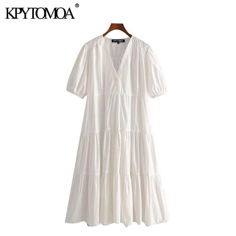 KPYTOMOA Women 2020 Elegant Fashion Pleated Midi Dress Vintage V Neck Short Sleeve Female Dresses Casual Vestidos Mujer