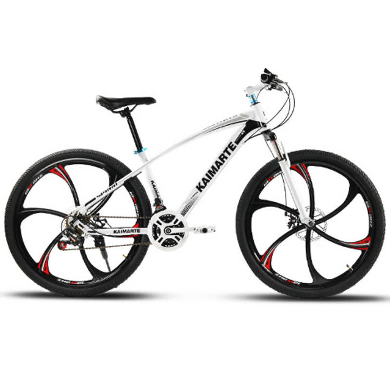 26 polegada mountain bike 21 velocidade de aço carbono alto quadro da bicicleta freios a disco duplo falou roda e faca roda