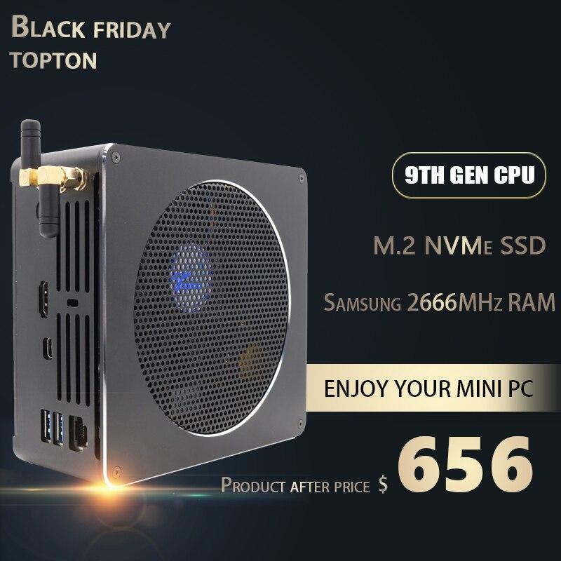 Unique Mini PC Intel Core i9 9880H 8 Cores 16 Threads Gaming Computer 2*DDR4 2*M.2 NVMe Windows 10 Pro HDMI Mini DP AC Wi-Fi&BT