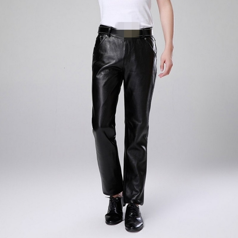 Men Luxury Cowskin Motorcycle Leather Pants Large Size Straight Genuine Leather Trousers New Warm Slim Fit Business Casual Pants