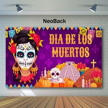 NeoBack Day of The Dead Backdrop Sugar Woman Skull Photography Background Dia DE Los Muertos Dress-up Party