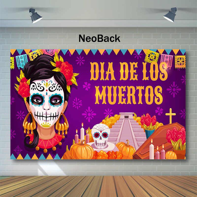 NeoBack Day of The Dead telón DE fondo azúcar mujer calavera fotografía Fondo Dia DE Los Muertos vestido-up fiesta fotografía como telón de fondo