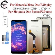 LCD dla Motorola Moto jeden P30 grać XT1941 XT1941 1 wyświetlacz jedna moc P30 uwaga XT1942 ekran LCD dotykowy czujnik Digitizer zgromadzenie