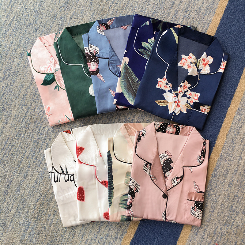 Shirt Nightgown Female Summer Sexy Viscose Long Sleeve Summer Thin Section Spring And Autumn Dress Model Silk WOMEN'S Pajamas