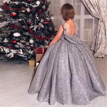 Silver Shiny Material Flower Girl Dresses Little Princess Birthday Party Pageant Ball Gown Party Holy Communion Pageant Dress
