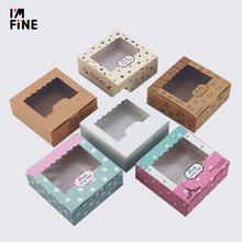 3 sizes 20pcs Kraft paper window cake Box Packing Gift Box Candy/Biscuit/Soap/Cookie/Cupcake Display packaging Box white