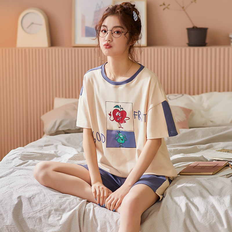 BZEL Hot Sale Ladies Pajamas Sets Round Neck Home Wear Cotton Sleepwear For Women Cartoon Female Underwear Cute Pijamas Pyjamas