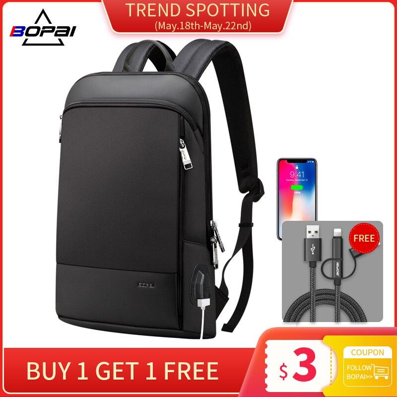BOPAI New Slim Laptop Backpack Men USB 15 Inch Backpack Anti Theft Backpack Waterproof Business Bagpack For Women