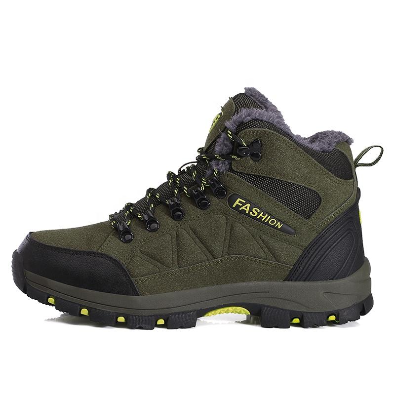 Men Boots Cow Leather Hiking Lovers Waterproof Sport Trekking Shoes Winter Outdoor Climbing Footwear with Fur