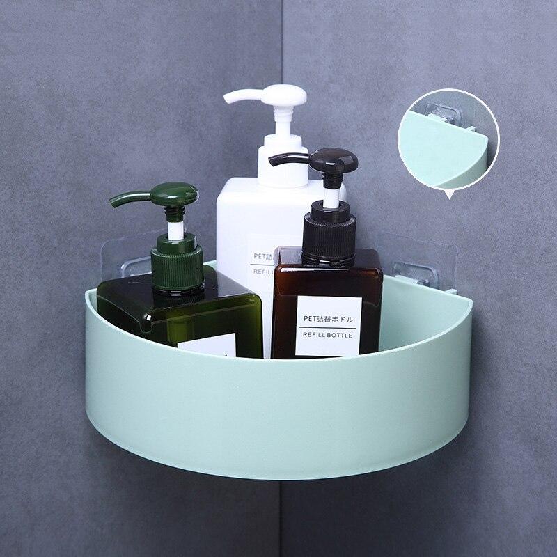 Bathroom Shelf Organizer Corner Shelf Adhesive Bathroom Plastic Corner Shelf Shower Storage Wall Holder Shampoo Holder White