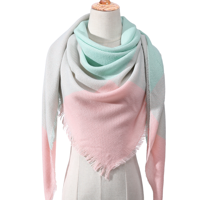 2020 Women Scarf Plaid Winter Cashmere Scarves Lady Shawls Bandana Neck Warm Knit Triangle Bandage Foulard Echarpe Femme Wraps