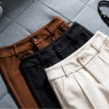 Women Trousers Woolen Wide-leg Pants New Autumn Winter High Waist Pants Solid Large Size Casual Pants Loose Women Straight Pants
