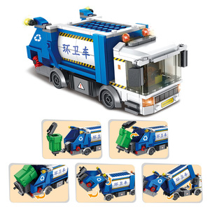 Image 2 - Panlos 660002 Ideeën Serie Vuilnis Classificatie Sanitaire Truck Bouwsteen Stenen Educatief Diy Kinderen Speelgoed Voor Stad