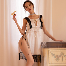 Sexy female lace stitching deep v super high Split emotional pajamas sexy Lingerie nightdress suit