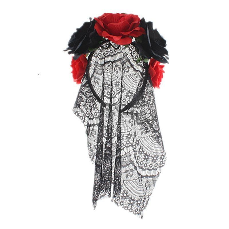 Ladies Corpse Bride Tiara Headband Veil Halloween Fancy Dress Costume Accessory