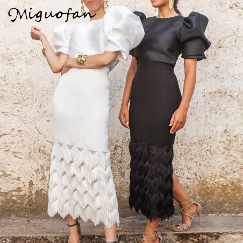 Miguofan 2Pieces Set Women Sets Puff Short Sleeve Solid Blouse Tops+ Long Skirts Splice Tassel Spring Sexy Sets Outfits Suits
