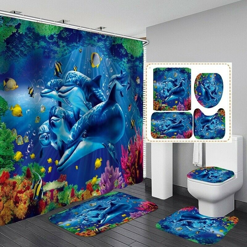 180x180cm Ocean Dolphin Sea Shower Curtain Toilet Rug Mat Bathroom Accessories