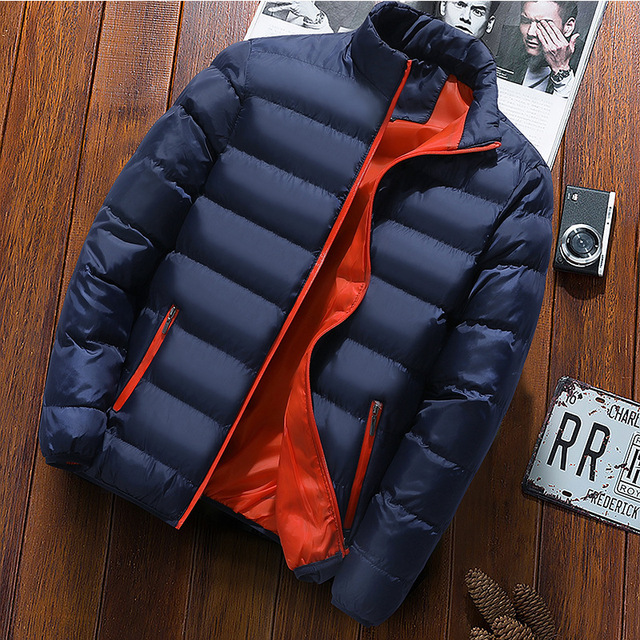 New Warm Thick Men Parka Jackets Winter Casual Mens Outwear Coats Solid Stand Collar Male Windbreak Cotton Padded Down Jacket 2