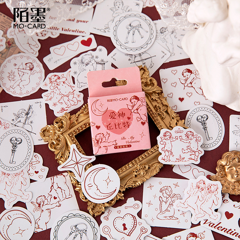Mohamm 46PCS Boxed Sticker Cupid Series Creative Love Sealing Sticker Flakes Scrapbooking Girl School Supplies Stationery