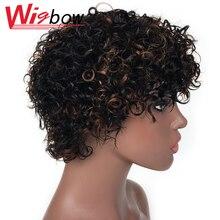 Короткие странный вьющиеся парик человеческих волос Для женщин бразильский Пикси вырезать парик короткие вьющиеся боб парик омбре 1Б 30 курчавый парик Бесплатная доставка Wigbow