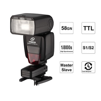 VISICO VS765 2.4G Wireless E-TTL GN58 High speed sync 0-360° horizontally Flash Speedlite  with LCD Display for Canon Nikon