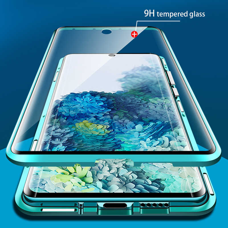 360 Magnetic Metal Case untuk Samsung Galaxy S20 S10 S9 S8 Plus S10E Double-Side Kaca untuk Catatan 10 8 9 Plus A51 A71 A50 A70 Cover
