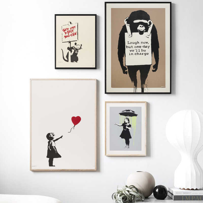 Banksy Street Graffiti Art Abstract Mouse And Placard Girl Holding Umbrella Canvas Painting Posters Prints Picture Home Decor