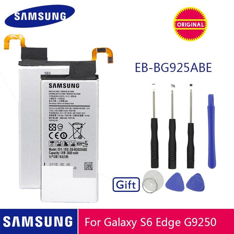 Bateria original EB-BG925ABE 2600 mah do telefone de samsung para a borda g925 g925f g925i g925a g925t g925w g925p g925s de samsung galaxy s6