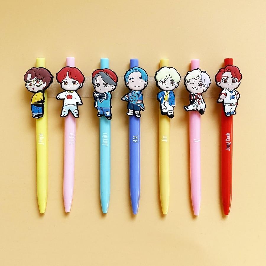 K Pop Bangtan Boys Kawaii Three-dimensional Character Soft Gel Pen Cute Cartoon Shape Ball Pen Around The Same Paragraph
